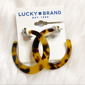 Lucky Brand | Tortoise brown colored hoop earrings